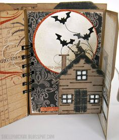 Fabulous pop-up mini-album by Shelly Hickox. Stamptramp: Pop 'n Cuts Mini Halloween Album