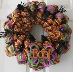 Halloween Wreath, Fall Door Wreath, Door Wreath via Etsy