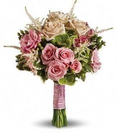 Rose Meadow Bouquet T191-1A Like a romantic walk through a meadow of roses, this heartwarming bouquet pairs soft pink with fresh green.  A lovely ensemble of pink roses, white astilbe, green hypericum and hydrangea with variegated pittosporum.  by 4165flower.com