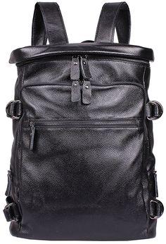 Iblue Genuine Leather Travel Laptop Backpack Black Large 16.5in