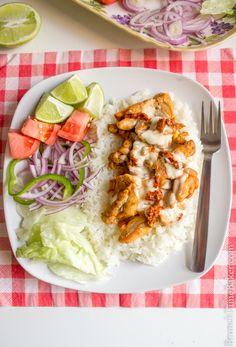 Mediterranean Chicken Gyro Platter with White Sauce - Brunch Time Baker