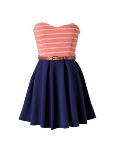 CORAL AND NAVY BLUE STRAPLESS STRIPED BELTED DRESS #ustrendy www.ustrendy.com