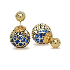 Gold Metallic Cage Royal Blue | NOW at 60 pesos per pair #ORDERNOW #FashionEarrings Fashion Earrings, Happy Shopping, Cage, Royal Blue, Fashion Ideas, Metallic, Collections, Pairs, Christmas Ornaments