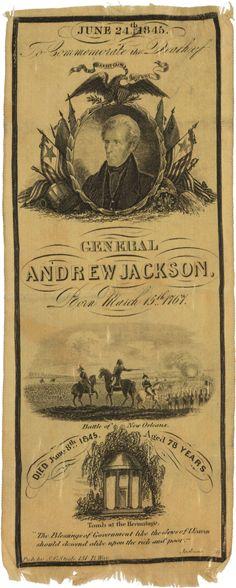 Andrew Jackson: A Fine 1845 Silk Memorial Ribbon