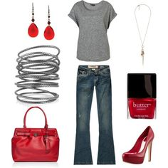 A fashion look from December 2011 featuring grey t shirt, flare jeans and red pumps. Browse and shop related looks. Look Fashion, Spring Fashion, Fashion Beauty, Fashion Outfits, Womens Fashion, Fashion Models, Fashion Shoes, Style Me, Cool Style