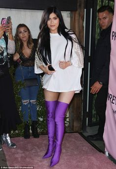 Who needs pants? Kylie Jenner rocked purple thigh-high boots for PrettyLittleThing's Shape X Stassie Launch at LA hotspot The Phoenix on Tuesday night