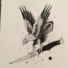 Eagle Powers, antother original from the show last week #austinengland #illustration #eagle #ink #dagger