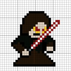 Darth Sidious Perler Bead Pattern Melty Bead Patterns, Pearler Bead Patterns, Perler Patterns, Pearler Beads, Beading Patterns, Minecraft Quilt, Minecraft Pixel Art, Video Game Crafts, 8 Bit Art