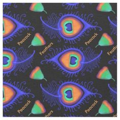 Peacock Feathers Bright Neon Abstract Fabric by JennyLuanArt