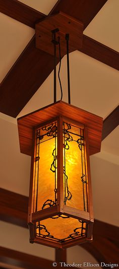 Hexagonal Greene & Greene inspired stained glass lantern - Theodore Ellison Designs
