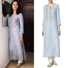 Alia Bhatt in the dreamy Powder Blue Floral Printed Kurta by Anita Dongre has all our hearts! Shop now. #aliabhatt #dreamy #anitadongre #powderblue #floralprint #kurta #getthelook #bollywoodfashion #celebcloset #celebritystyle #womensfashion #indiandesigners #shopnow #perniaspopupshop #happyshopping