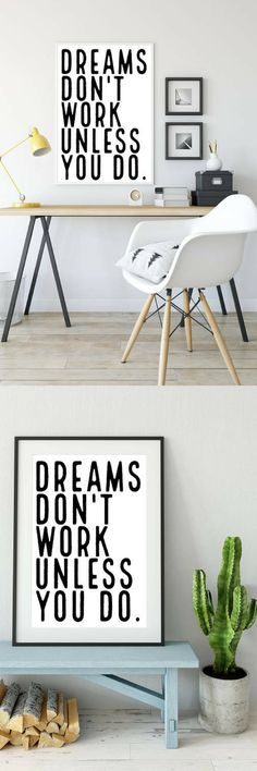 DREAMS DON'T WORK UNLESS YOU DO quote,Motivational  Quote,Quote,Printable,Instant Download,Digital Print,Scandi Decor,Wall  Art, Digital Download,Inspirational quote   #giftideas #ad #homedecorideas #motivationalquotes #livingroomdecor #bedroomdecor