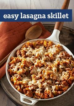 Easy Lasagna Skillet — Unlike traditional lasagnas, this recipe is ready for the dinner table in just 45 minutes. Just add ground beef, broken noodles and the other fixins to the skillet and enjoy!