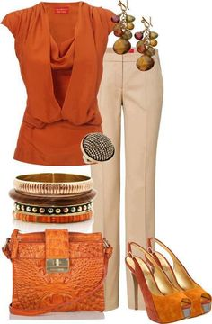 I like this outfit.  Especially for fall. The purse is so cute. The color of the top looks great with the pants. The shoes are super cute but way too high. Pretty bracelets too.