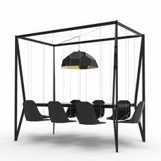 It's as though all of our childhood wishes have come true - this super fun Swing Table by Duffy London is now available for all to own! We think it's a great way to add some fun to corporate meetings, conferences and even dinner time. Can you imagine your boss swinging in his or her chair like they're at a playground?! The other bonus is that vacuuming under this table would be extremely easy.