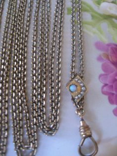 Victorian Ladies Watch Chain  Crescent Moon & Star Slide