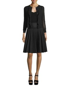 -6MS8 Marc Jacobs  Button-Front Cropped Cardigan W/Ruffle Trim, Black Pleated A-Line Skirt, Black