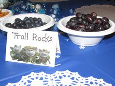 Snacks for frozen party - troll rocks (blueberries, black berries, grapes)