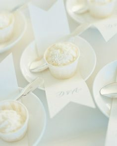 Like the way they served this sorbet. We could do this with the same monogram used on the invitation.