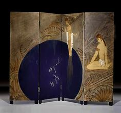 "Art Deco Paravent ""Lac Bleu"" by Jean Dunand 1928"