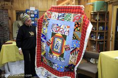 Save those old vintage bed sheets, pillowcases, t-shirts and make an amazing quilt with them. She found a bunch of these pieces at yard sales and thrift stores.