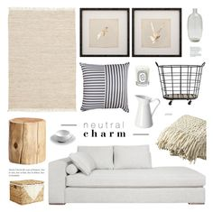 """Neutral Charm"" by emmy ❤ liked on Polyvore featuring interior, interiors, interior design, home, home decor, interior decorating, West Elm, CB2, Pier 1 Imports and Sur La Table"