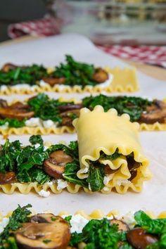Mushroom Lasagna Roll Ups in Creamy Gorgonzola Cauliflower Sauce ~ Chocolatable