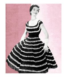 Vintage Crochet Pattern 1950s Off Shoulder Dress Blouse Full Circle Skirt Peasant Patio PDF. $4.50, via Etsy.