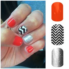 This bright and shiny look is super easy with Jamberry nail wraps. Persimmon, Balck & White Chevron, and Diamond Dust Sparkle