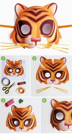 Mask templates to print: DIY mask making for kids. Printable tiger mask template and instructions. How to make animal masks: Tiger + 9 other animal masks!