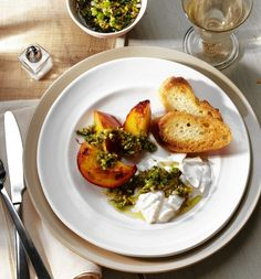 Burrata with Roasted Nectarines and Pistachio-Herb Oil...  serve with a chilled rosé.