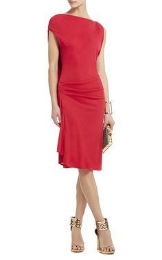 Red Bcbgmaxazria Adeline Asymmetrical Draped Short DressOutlet