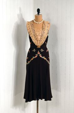 1920's Embroidered Silk-Rayon Tiered Lace Bib-Collar Evening Dress
