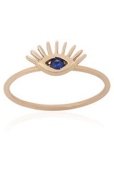 14K Rose Gold Evil Eye Ring