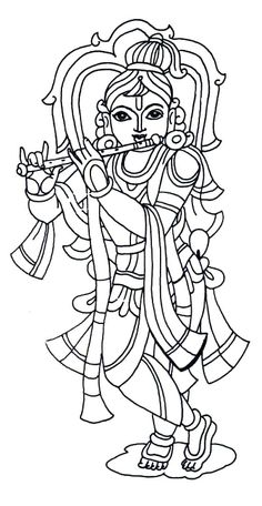 Krishna Coloring Pages Sketch Coloring Page Mural Painting, Line Art Drawings, Art Drawings For Kids, Hindu Art, Drawings, Kerala Mural Painting, Art, Krishna Painting, Kalamkari Painting