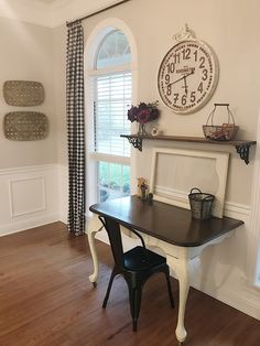 A better view of one of our table to wall mounted desks! Tobacco baskets are from Hobby Lobby. Clock is the Kensington Station Clock fro Decor Steals a few years back. Curtain panel is actually  the Lintex plaid tablecloth! Black distressed metal chair is from Wayfair.