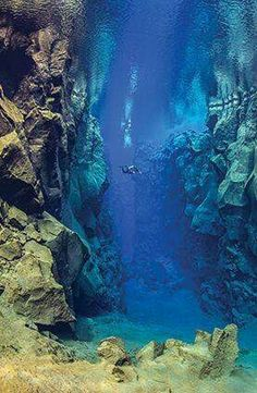 swim between two tectonic plates - Silfra fissure in Iceland's Thingvellier National Park - swim between two continents, the Silfra fissure in Iceland's Thingvellier National Park is where the North American and Eurasian tectonic plates meet.