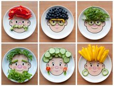 """Healthy Snacks For Kids Making eating fruit and vegetables fun like this can help children build a positive relationship with food.  $12 each, """"Mr. Food"""" and """"Ms. Food!"""" Adorable! Using Wondergrain SoftestBite Sorghum could be fun"""