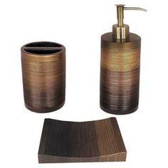 Ridley 3 Piece Bathroom Accesory Set in Bronze & Gold