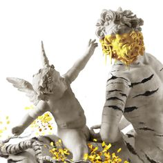 Contemporary art by Ruben Carrasco. Detail artwork in progress pop surreal art grenade sculpture, Eros, Gods, centaur.