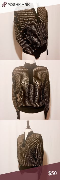 """✨ Vintage Black & Gold Button Trim Zipper Sweater @1980 Myrna & Gail heavy weight knit sweater. Featuring zipper mock neck, dolman sleeve's, with black knit accent decorated with crested black and gold buttons. Solid black cuff. Dry clean only 42"""" bust 23"""" overall length PERFECT Condition Vintage Sweaters Cowl & Turtlenecks"""