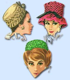 """McCall's Pattern 6515 Misses' Hat Pattern Fun Smocked Hats in 4 Designs From 1962 Factory Folded and Unused Envelope is a Little Worn on the Bottom One Headsize (21 1/2 to 22 1/2"""" Head) We Sell the Be"""