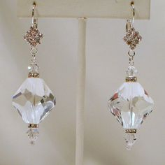 Crystal Ice Earrings by tbyrddesigns on Etsy, $19.00