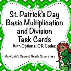 Students need so much practice with multiplication and division to build their understanding and fluency. These cute and fun St. Patrick's Day themed task cards are a great way for students to practice and reinforce their skills.   The task cards address the 3rd grade CCSS for Operations and Algebraic Thinking. The types of problems included are: •Find the product •Find the quotient  •Find the missing factor •Find the missing divisor •Word Problems