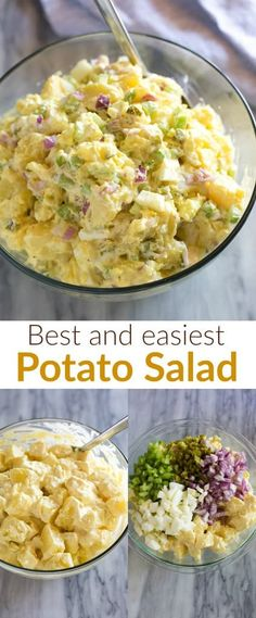 Traditional Potato Salad made with Yukon Gold potatoes, hard boiled eggs, and a . Traditional Potato Salad made with Yukon Gold potatoes, hard boiled eggs, and a simple creamy dressing. An easy reci Potato Salad Recipe Easy, Potato Salad With Egg, Easy Salad Recipes, Healthy Recipes, Vegetarian Recipes, Dinner Recipes, Cooking Recipes, Best Mustard Potato Salad Recipe, Simple Potato Salad