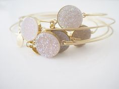 14K Gold Filled Snow White Titanium Druzy Bangle by STIACOUTURE, $45.00
