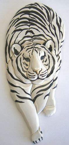 WHITE TIGER STALKING, Original Intarsia Sculpture on Etsy, $165.00