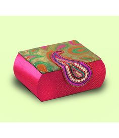 Art Papyrus- Hand Embroidered & Printed Fabric Jewellery Box - #Bling #Organizer . Find space for all your jewellery in this paisley printed and embroidered box