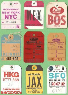 Vintage Stuff Vintage U.S Airline Baggage Tickets – Vintage Inspiration nyc - boston, where I am at these days - Vintage graphics are such a major source of inspiration for new design developments. Patternbank aims to deliver vintage print Ticket Design, Tag Design, Print Design, Vintage Graphic Design, Graphic Design Inspiration, Vintage Designs, Vintage Luggage Tags, Vintage Labels, Vintage Suitcases