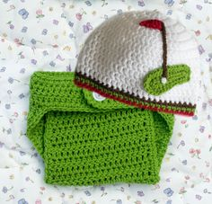 BABY GOLF BEANIE Hat & Diaper Cover Crocheted Girls or Boys Photo Prop in Soft White Yarn Size Preemie, Newborn, 0-3, 3 Months by Grandmabilt on Etsy